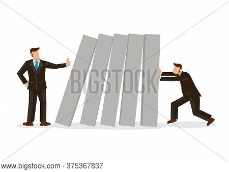 Businessman Stops Falling Domino Push By Other Businessman. Concept Of Crisis Management Or Sabotage