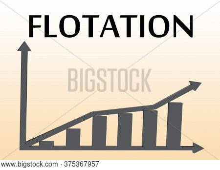 3d Illustration Of Flotation Above A Column Bar Graph, Isolated Over Green Gradient.