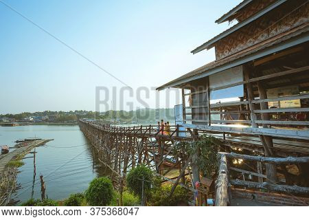 Kanchanaburi, Thailand - January 16, 2020 : Mon Bridge Or Uttamanusorn Bridge In Sangkhla Buri, Kanc
