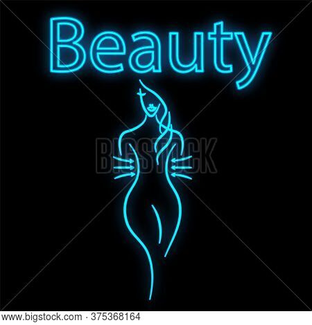 Bright Luminous Blue Neon Sign For A Beauty Salon In Slimming Beautiful Shiny Beauty Spa With A Fema