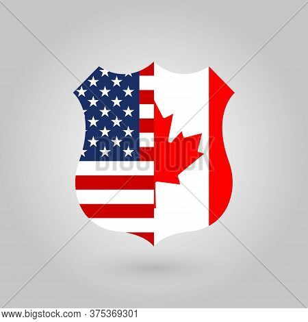 Us And Canada Flags Icon In The Shape Of A Police Badge. American And Canadian National Symbol. Vect