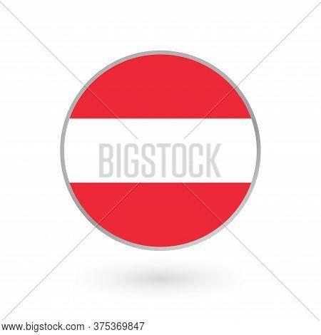 Austria Flag Icon Isolated On White Background. Austrian Round Badge. Vector Illustration.