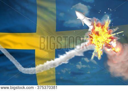 Sweden Intercepted Ballistic Warhead, Modern Antirocket Destroys Enemy Missile Concept, Military Ind