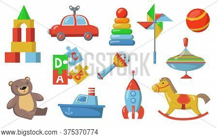 Children Toys Set. Colorful Plastic Submarine, Car, Spaceship, Teddy Bear, Puzzle Constructor, Rattl