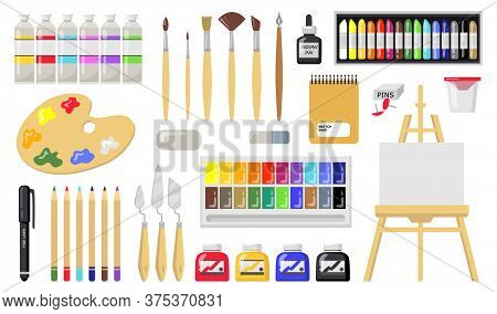 Drawing And Painting Tools Set. Brushes, Oil Paints, Palette, Easel With Canvas, Paintbrushes, Penci