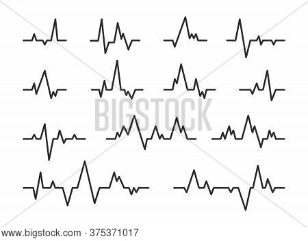 Heart Beat Diagram Lines Set. Pulse Rate Monitor, Seismic Waves During Earthquake, Ekg Graph. Can Be