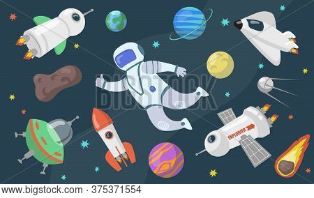Outer Space Exploration Set. Astronaut, Ufo, Satellite, Rocket, Asteroid, Comet, Spaceship Flying Am