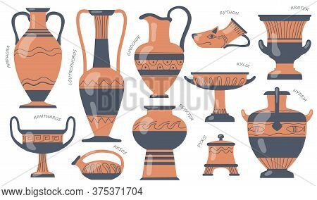 Greek Pottery Jugs Set. Urns, Amphora, Tall Vases With Ancient Ornaments, Old Jugs And Pots For Oil.