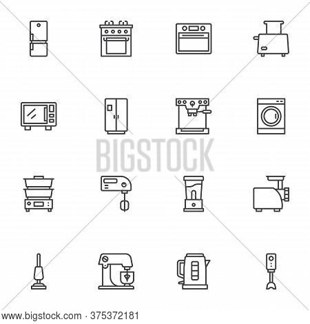 Kitchen Appliances Vector Icons Set, Modern Solid Symbol Collection, Household Equipment Filled Styl