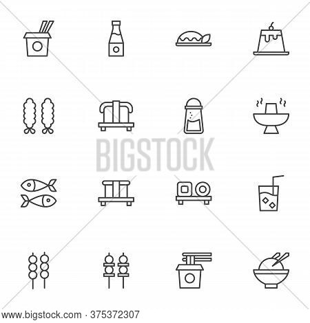 Asian Cuisine Line Icons Set, Outline Vector Symbol Collection, Asian Food Menu Linear Style Pictogr