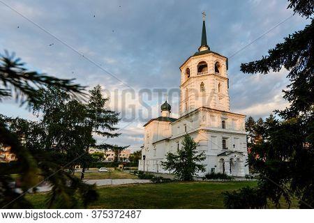 Irkutsk, Russia - June 30, 2020: Spasskaya Church Of Chist The Saviour In The Center Of Irkutsk City