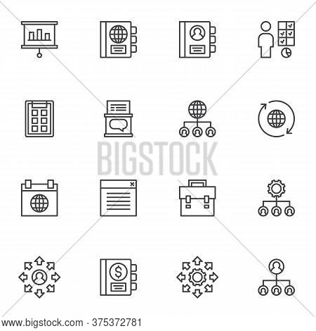 Corporate Management Line Icons Set, Outline Vector Symbol Collection, Linear Style Pictogram Pack.