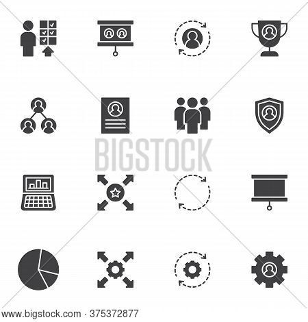 Corporate Business Vector Icons Set, Modern Solid Symbol Collection, Filled Style Pictogram Pack. Si