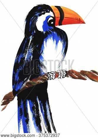 Watercolor Image Of Toucan Sitting On Knotted Branch. Bright Exotic Bird With Large Orange Beak Agai