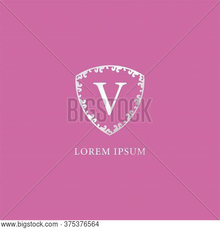 V Letter Intial Logo Design Template. Suitable For Insurance, Fashion And Beauty Product. Luxury Sil
