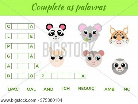 Complete As Palavras - Complete The Words, Write Missing Letters. Matching Educational Game For Chil