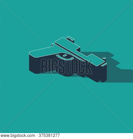 Isometric Pistol Or Gun Icon Isolated On Green Background. Police Or Military Handgun. Small Firearm