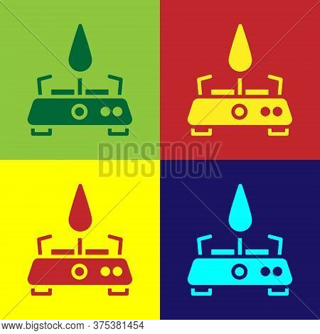 Pop Art Camping Gas Stove Icon Isolated On Color Background. Portable Gas Burner. Hiking, Camping Eq