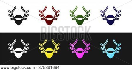 Set Deer Antlers On Shield Icon Isolated On Black And White Background. Hunting Trophy On Wall. Vect