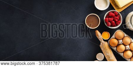Bakery Background Top View Ingredients For Cooking Raspberry And Chocolate Pie On Dark Background Wi