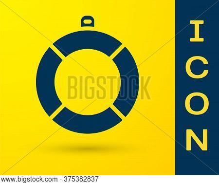 Blue Lifebuoy Icon Isolated On Yellow Background. Lifebelt Symbol. Vector