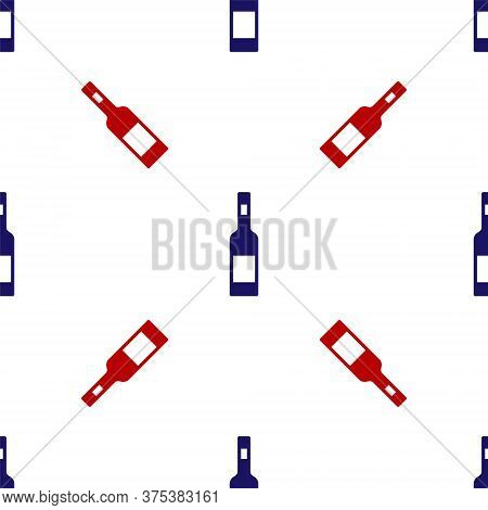 Blue And Red Glass Bottle Of Vodka Icon Isolated Seamless Pattern On White Background. Vector