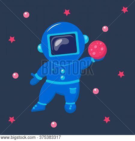 Astronaut Float In Space. Cute Funny Cosmonaut.