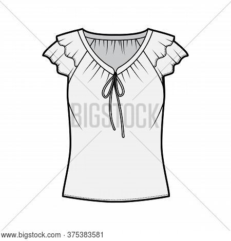 Blouse Technical Fashion Illustration With Ties At The V Neckline, Fluttery Ruffles Short Sleeves, L