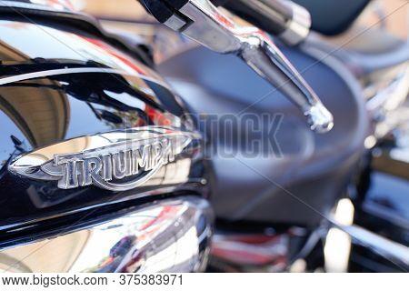 Bordeaux , Aquitaine / France - 07 06 2020 : Triumph Motorcycle Detail Sign Logo On Fuel Tank On Mot