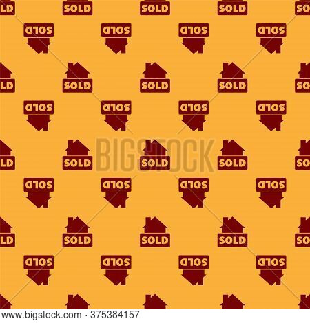 Red Hanging Sign With Text Sold Icon Isolated Seamless Pattern On Brown Background. Sold Sticker. So