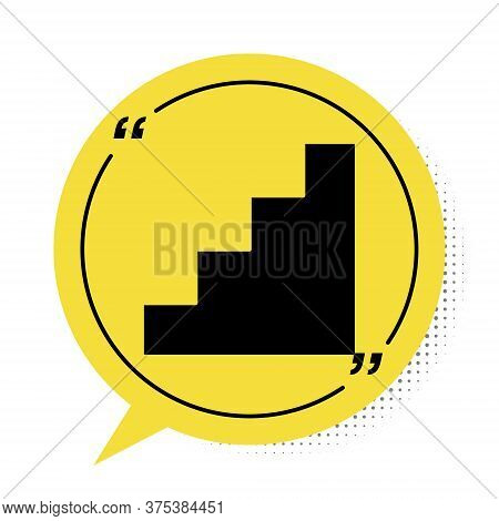 Black Staircase Icon Isolated On White Background. Yellow Speech Bubble Symbol. Vector