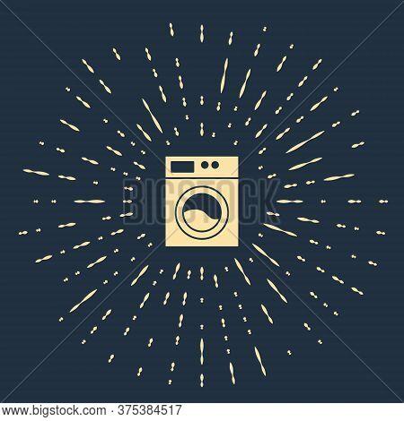 Beige Washer Icon Isolated On Blue Background. Washing Machine Icon. Clothes Washer - Laundry Machin