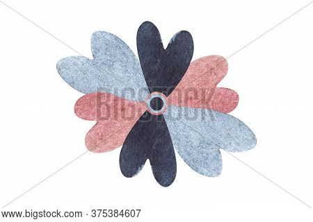 Watercolor Flower With Petals In Shape Of Hearts Isolated On White Background. Six Petals Of Blue, P