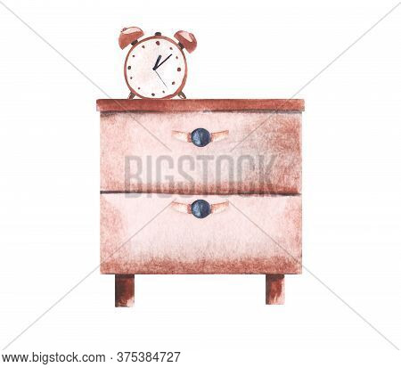 Watercolor Image Of Pink Chest Of Drawers With Classical Table Clock With Ringing Bells On It. Piece