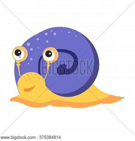 Funny Snail With Blue Cochlea Flat Icon. Book Character, Pet, Gastropod. Mollusk Concept. Illustrati