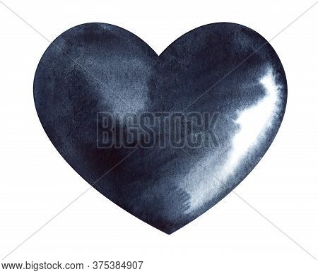 Watercolor Image Of Black Unevenly Colored Heart Isolated On White Background. Hand Drawn Illustrati