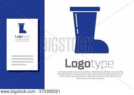 Blue Waterproof Rubber Boot Icon Isolated On White Background. Gumboots For Rainy Weather, Fishing,