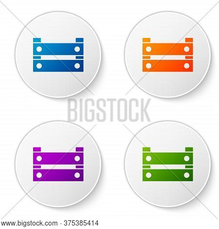 Color Wooden Box Icon Isolated On White Background. Grocery Basket, Storehouse Crate. Empty Wooden C