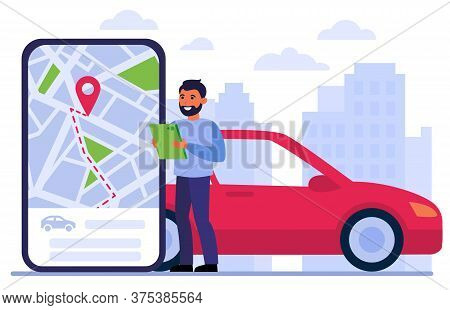 Man Searching Car For Rent, Using Location App On Gadget, Studying Digital Map, Ordering Taxi Online