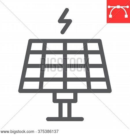 Solar Panel Line Icon, Energy And Ecology, Sun Solar Panel Sign Vector Graphics, Editable Stroke Lin