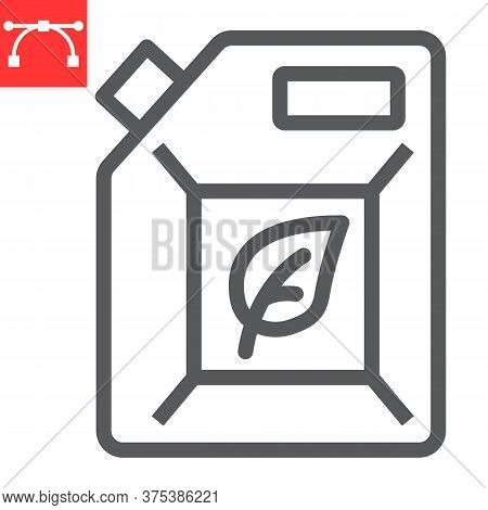 Biofuel Line Icon, Oil And Ecology, Jerrycan Sign Vector Graphics, Editable Stroke Linear Icon, Eps