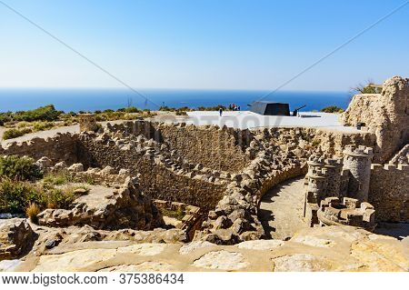 Tourist Attraction. The Gun Battery Of Castillitos In Spain Cartagena, Stone Castle Fortifications.