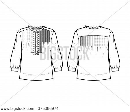 Shirt Technical Fashion Illustration With Oversized Body, Concealed Button Fastenings Along Front, R