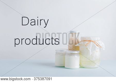 Fermented Dairy Products. Milk Mushroom. Organic Probiotic Fermented Milk Products In Glass Bottles.
