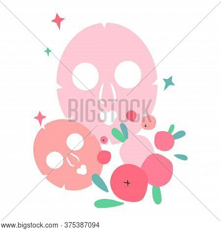 Illustration With Masks For Face Skin. Skin Care Masks Based On Cranberries And Lingonberries. Natur