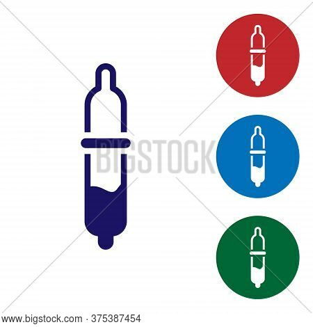 Blue Pipette Icon Isolated On White Background. Element Of Medical, Chemistry Lab Equipment. Pipette