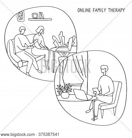 Family Psychologist. Online Counseling For Couple. Patients At Psychological Consultation. Flat Vect