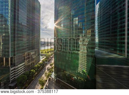 SINGAPORE CITY, SINGAPORE - FEBRUARY 15, 2020: Street in Singapore in the financial district