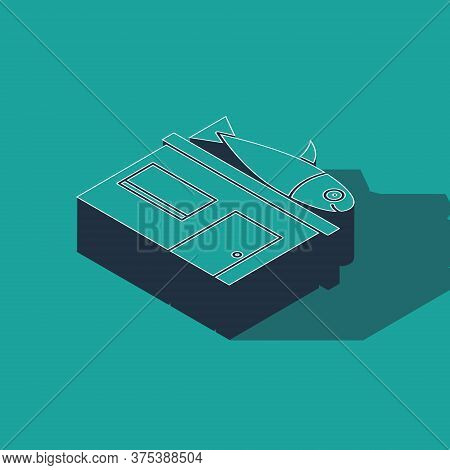 Isometric Seafood Store Icon Isolated On Green Background. Facade Of Seafood Market. Vector.