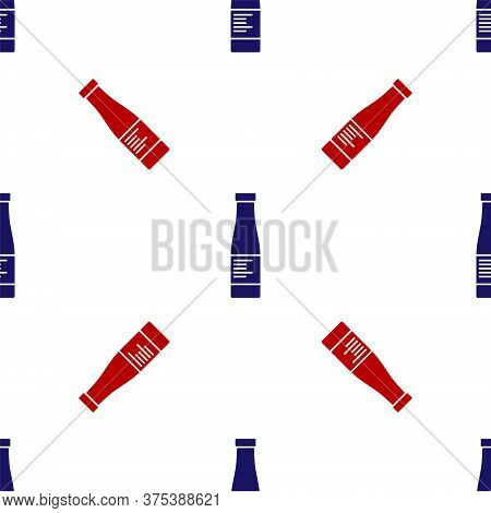 Blue And Red Sauce Bottle Icon Isolated Seamless Pattern On White Background. Ketchup, Mustard And M